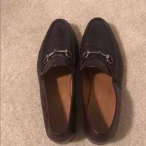 Brown Gucci horsebit loafers